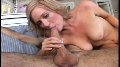 Dazzling blonde with a perky ass Naomi Cruise welcomes a stiff cock in her tight pussy