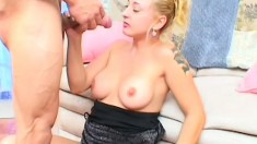 Lustful and lonely, this blonde housewife has a horny stud fulfilling her desires