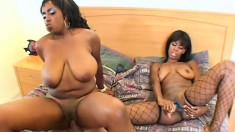 Horny white man has two mesmerizing black babes sharing his big prick