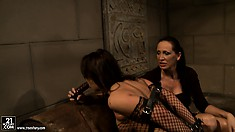 Gorgeous slave in full-body fishnets gets punished by her mistress