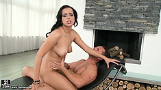 Slutty, dark-haired woman is fond of catching thick, sticky sperm with her lips