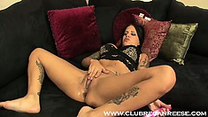 She's got her dildo pounding her butt and sticks another in her cunt