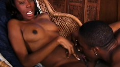 Gracious donah with dark pussy gets tickled and fucked graciously