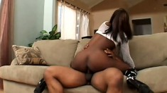 Ebony Hottie With Sexy Legs And Big Tits Passionately Sucks And Fucks A Black Dick