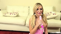 Scrummy chick Amy Brooke looks pretty shy until she stuffs her cunny with dildo