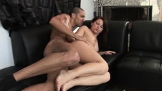 Brunette broad with a sexy tat and a fine ass gets drilled deep