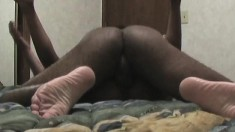 Well-endowed black guy goes down on his lover's succulent clit