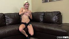 Slender blonde Chloe Foster drops her clothes revealing her cute natural tits
