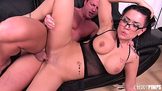 Busty brunette diva, Eva Angelina, takes a cock deep in her cunt