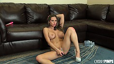 Suggestive babe with amazing knockers Rachel Roxxx exposes her body for a detailed review