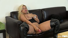 Really busty blonde Bridgette toys her snatch and licks the juices