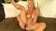 Lonely and lustful housewife massages her big boobs and fucks a dildo