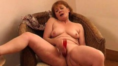 Playful mature Milana gets fully naked and fucks her cunt with a dildo