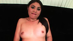 Asian cutie Ruby Luxe feeds her hungry peach a big black dick in POV