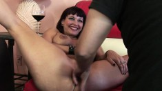 Bodacious brunette milf Carrie Ann has intense sex with a younger guy