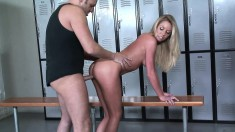 Brynn Tyler gets her cunt nailed hard and creampied in the locker room