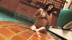 Sexy Valentine Yu puts on her tight black bikini and poses by the pool