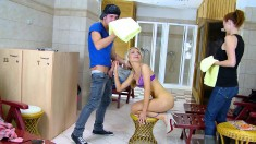 Blonde Russian Gal Eats His Meat And Gets Stuffed While Being Watched In A Spa