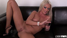 Heavenly blonde with sublime tits and ass Diana Doll fulfills her needs with a dildo