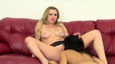 Sexy girls Megan and Lexi drive each other's fiery pussies to climax