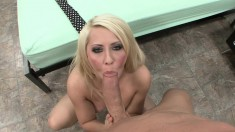 Naughty blonde gets on all fours to take a fat piston in her mouth