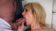 Mature blonde toys her butt and he face fucks her before nailing her ass