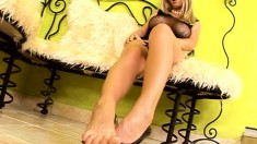 Stacked blonde beauty with sexy long legs Helena satisfies her needs