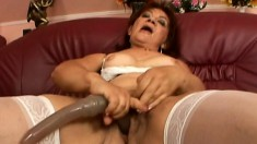 Naughty mature Marsha peels off her lingerie and gets pounded in POV