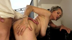 Buxom granny embarks on a quest to find pleasure with a younger stud