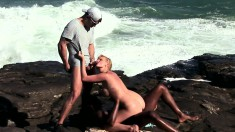 Trashy Blonde Tarra White Enjoys A Hot Interracial Threesome Outside