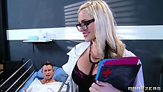 Hot nurse with huge boobs lures patient into fucking her raw
