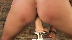 Blonde beauty displays her perfect body and fucks a mechanical dildo