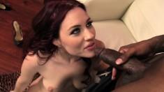 Cute redhead Jessica Ryan gets treated like a slut by a hung black guy