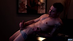 Irresistible male model Chris Taylor shows his favorite love tool