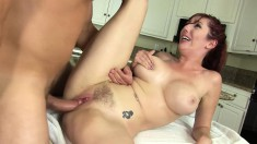 Horny Brunette Lauren Phillips Hugs A Thick Prick Between Her Big Jugs