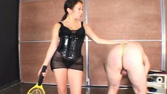 Sensual mistress loves to punish a guy with a hot tennis racket