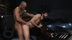 Two gay studs are eating meat and slamming it in a tight butthole