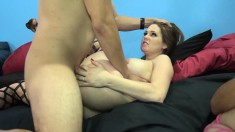 Three exciting girls with marvelous bodies share two throbbing pricks