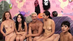 Four Sexy And Lustful Babes Getting Fucked Deep And Hard By Hung Studs