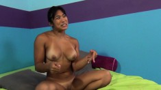 Busty Asian babe Mai Li gives head and gets her bald cunny hammered