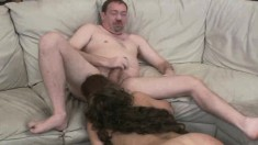 Horny brunette with a lovely ass Karena takes on three cocks at once