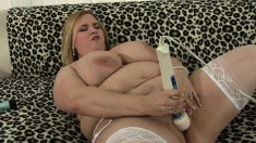 Fat blonde in stockings Nikky sends her new toys delivering pleasure