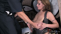 Eva caresses her big tits and tight pussy, yearning to have fun with a big cock
