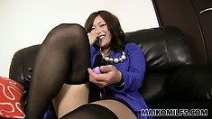 Dazzling Asian lady with a captivating smile is on the lookout for a wild adventure