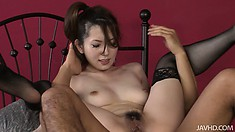 Japanese whore in lacy black stockings gets it deep from her lover