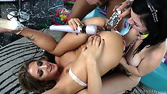 Slutty pornstars Sheena Shaw and Veruca James get analized in a FFM threesome