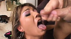 Asian hottie Keeani Lei enjoys a rough pounding and takes a huge load in her mouth