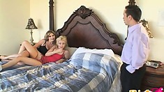 Kinky wife offers hubby to fuck his adorable young employee in a 3sum