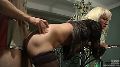 Skinny blonde Kathleen worships Peter's long prick and he fucks her snatch doggy style