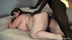 Very large Lexxxi Luxe and her huge tits give head and gets her big ole pussy nailed